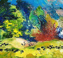 Impressionist Landscape with Cows Fine Art Oil Painting by Ekaterina Chernova by Ekaterina Chernova