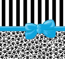 Dog Paws, Traces, Stripes - Ribbon, Bow - White Black Blue by sitnica