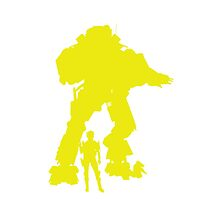 Yellow and White Robot Titan - iPhone Galaxy -  Vector Design Video Game by CooliPhones