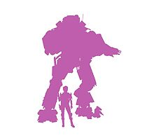 Girly Purple Robot Titan - iPhone Galaxy -  Vector Design Video Game by CooliPhones