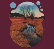 A stream, dry grass, reflections and trees | waterscape photography T-Shirt