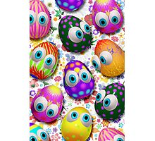 Cute Easter Eggs Cartoon 3d Pattern Photographic Print