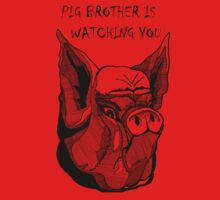 Big Brother Pig Brother is Watching You BLK by wildwildwest