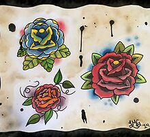 3 Roses - Tattoo Flash by stacey13