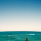 Sunny sky and white sail boat by Mel Brackstone