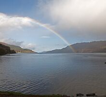 Rainbow over Loch Ness in Fort Augustus Scotland by Keith Larby
