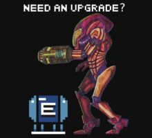 """Need an Upgrade?"" Metroid Samus Aran Nintendo T-Shirt by r4fu"