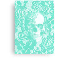 Mint lace skull Canvas Print