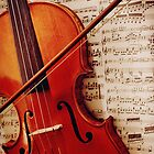old violin with bow by Pixmover