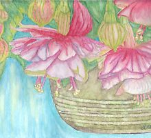 Fuschia Basket Watercolor by Linda Allan