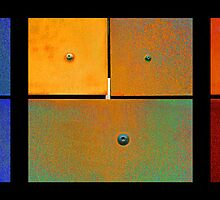 Triptych Blue Green Red - Colorful Rust by Menega  Sabidussi