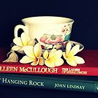 Frangipanis, Books And Teacup. by Evita