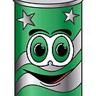 Green Soda Can Cartoon by Graphxpro
