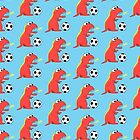 Blue Funny Cartoon Dinosaur Football by Boriana Giormova