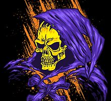 Purple Hooded Evil Skull Dude by JoeConde
