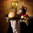 Still Life with Roemer, Flagon, Bread & Fruit by Jon Wild