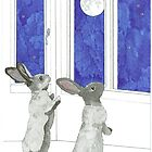 Daily Doodle 4-SPACE- Rabbit Moon by ArtbyMinda
