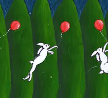 Leaping Rabbit with balloon #3 by Donna Huntriss