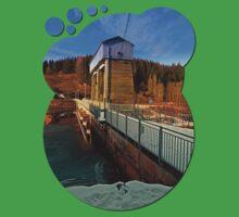 Hydropower station in winter wonderland | architectural photography Kids Clothes