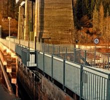 Hydropower station in winter wonderland | architectural photography Sticker