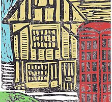 English Tudor House Linocut by adrienne75
