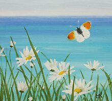 Blue Ocean, Daisies and Orange-tip Butterfly by Lynne  Kirby