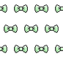 Pixel Ribbon Bow Pattern (mint) by maximumcapacity