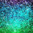 DREAM Colorful Blue Green Typography Ocean Ombre Fine Art Abstract Painting by EbiEmporium