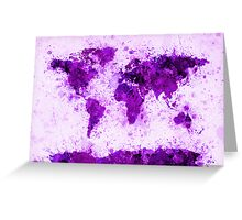 World Map Paint Splashes Purple Greeting Card