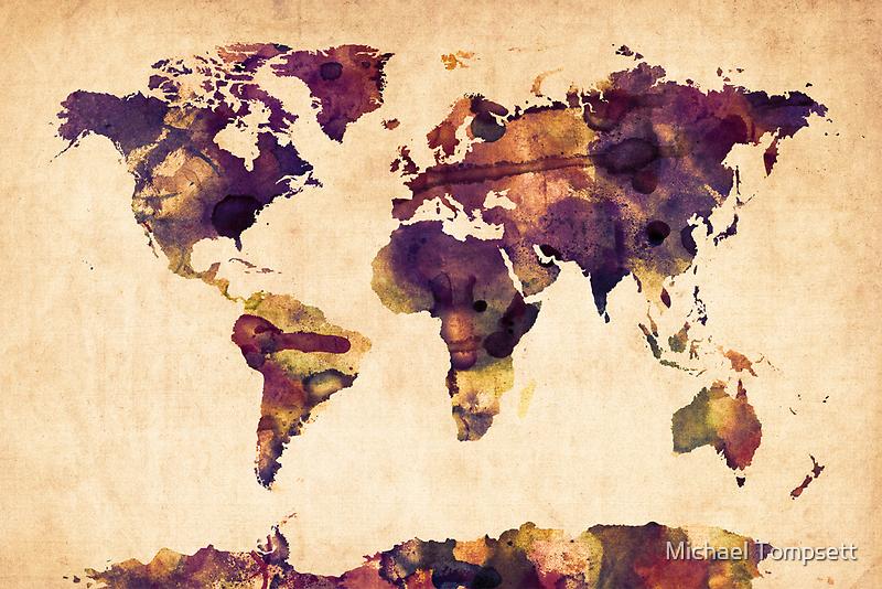 World Map Watercolor by Michael Tompsett