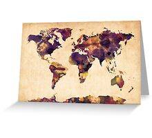 World Map Watercolor Greeting Card