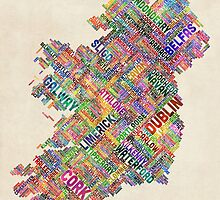 Ireland Eire City Text map by ArtPrints