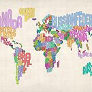 Text Map of the World Map by ArtPrints