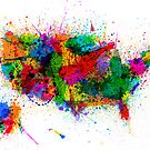 United States Paint Splashes Map by ArtPrints