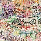 Watercolour Map of London by Michael Tompsett