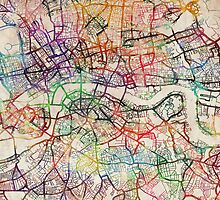 Watercolour Map of London by ArtPrints