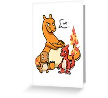 charmandar,charmeleon and charazard Greeting Card