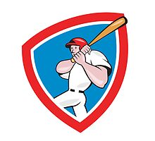 Baseball Player Batting Crest Red Cartoon by patrimonio