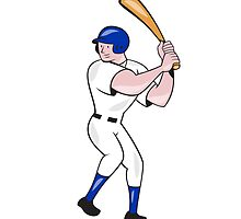 Baseball Player Batting Side Blue Isolated Cartoon by patrimonio