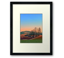 Trees, panorama and sunset | landscape photography Framed Print
