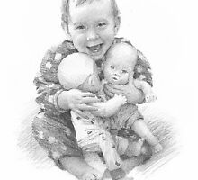 Baby with dolls drawing by Mike Theuer