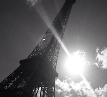Black and white Eiffel Tower by Elysialily