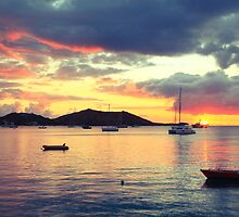 Caribbean Harbor Sunset in Grand Case, St. Martin by Roupen  Baker