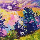 Absstract landscape oil painting. Sunrise by Ekaterina Chernova by Ekaterina Chernova