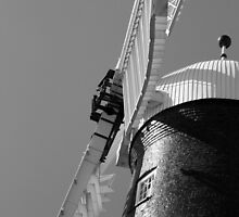 Waltham Windmill Sails in Black and White by John Messingham