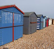 Beach Huts on Hayling Island by looneyatoms