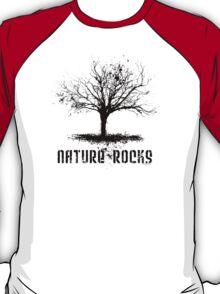 Nature Rocks Black Tree Silhouette  T-Shirt