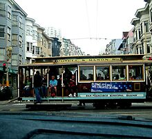 SAN FRANCISCO CABLE CAR IN NORTH BEACH by JAYMILO
