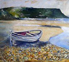 Beached Boat and Pebbles Runswick Bay by Sue Nichol