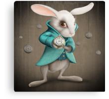 white rabbit with clock Canvas Print
